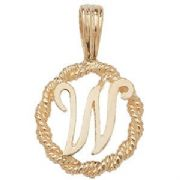 9ct Gold Round rope edged Initial letter W pendant 0.8g